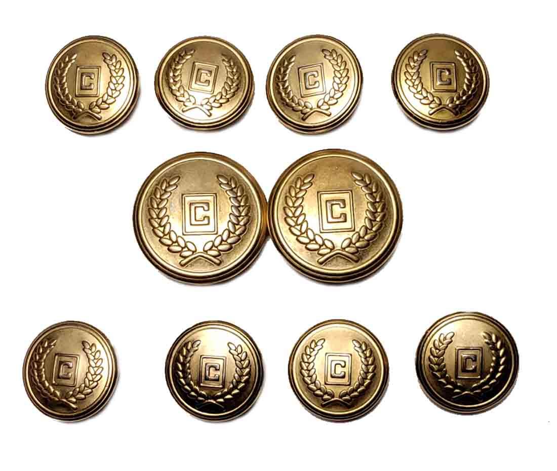 Vintage Ralph Lauren Chaps Blazer Buttons Set C Monogram Gold Brass Shank