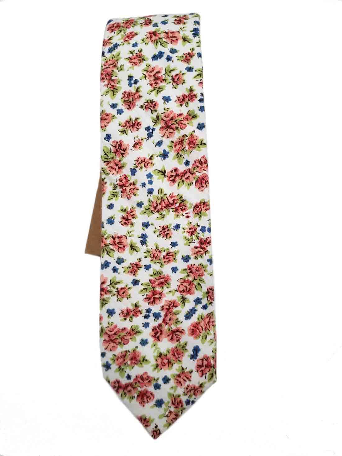 Floral Cotton Tie Narrow White Pink Green Blue Men's