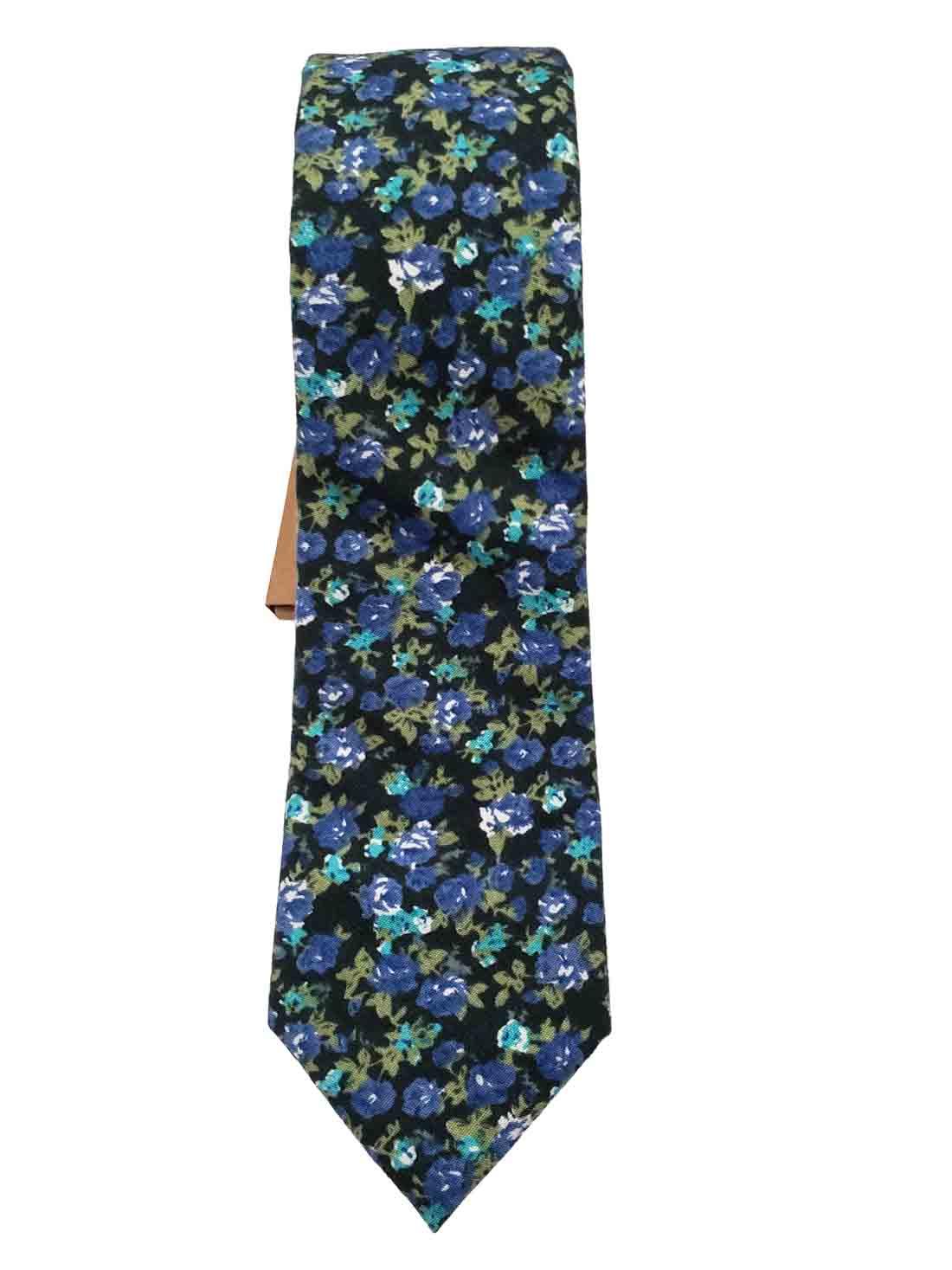 Floral Cotton Tie Narrow Blue Green Teal White Black Men's
