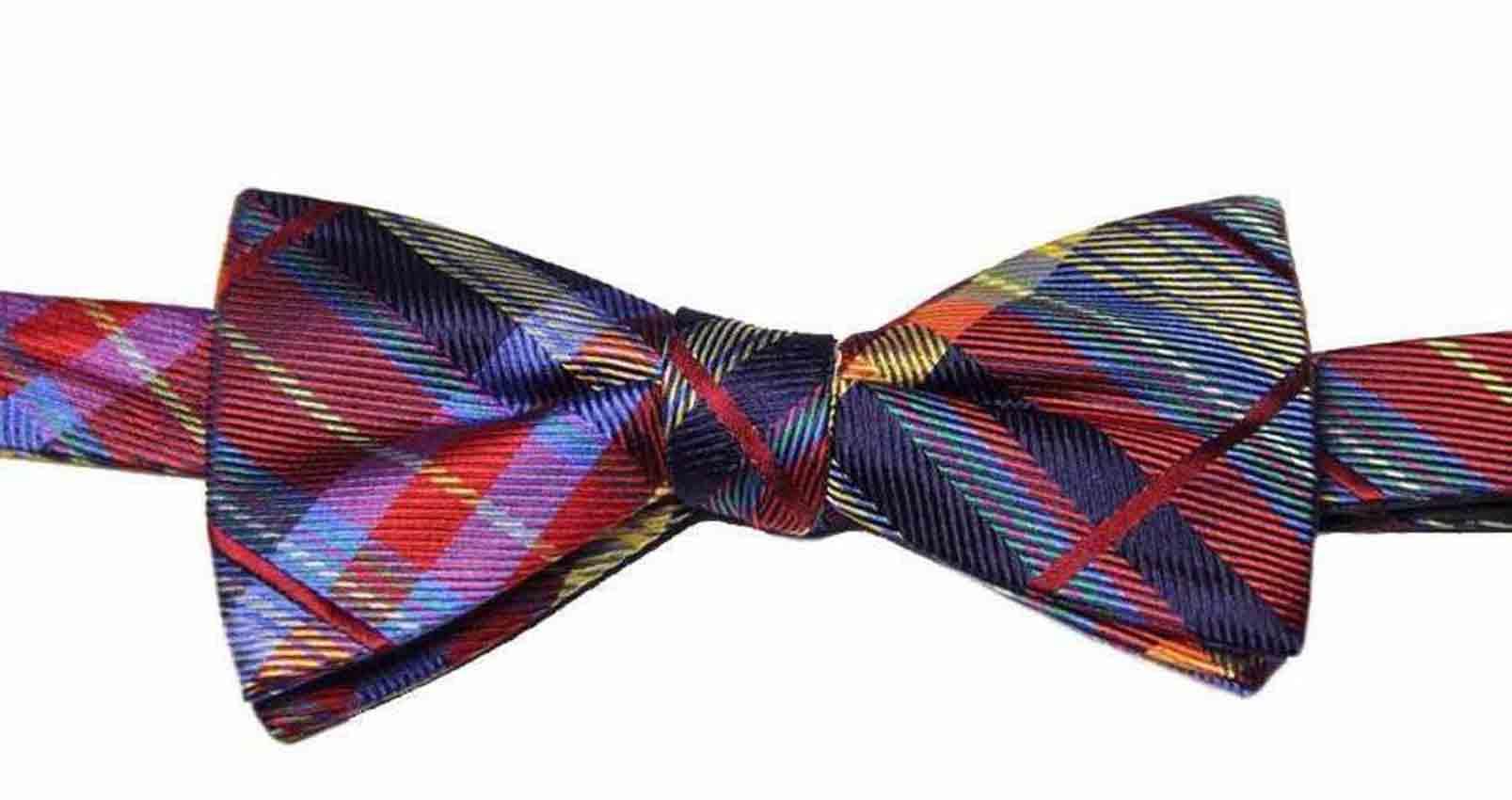 Countess Mara Plaid Bow Tie Silk Blend Multicolor Men's
