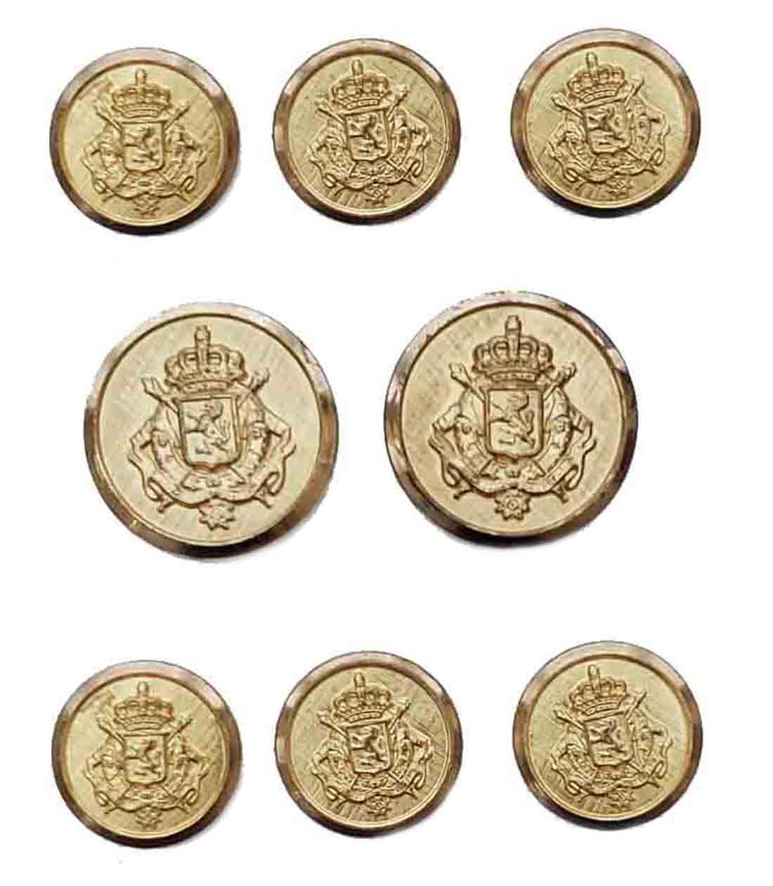Vintage Waterbury Blazer Buttons Set Gold Brass Shank Crown and Shield Men's