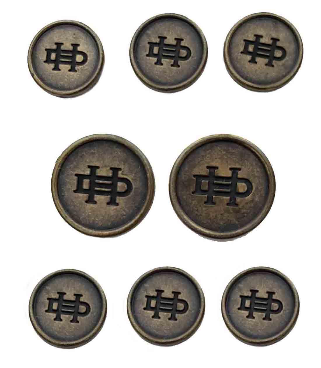 Vintage Daniel Hechter Blazer Buttons Set Brown Gold DH Monogram Men's