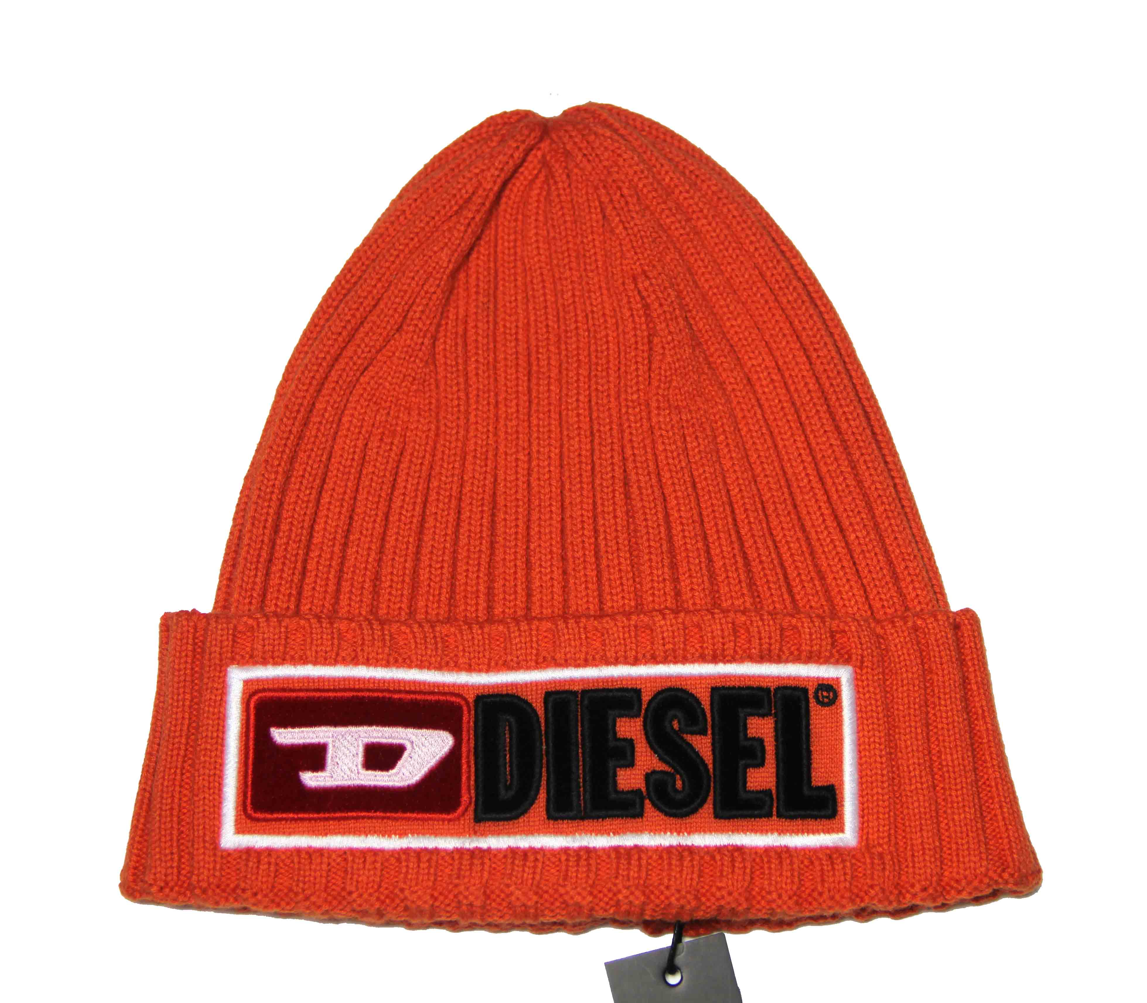 Diesel Skull Cap Hat Wool and Cotton Orange Men's One Size