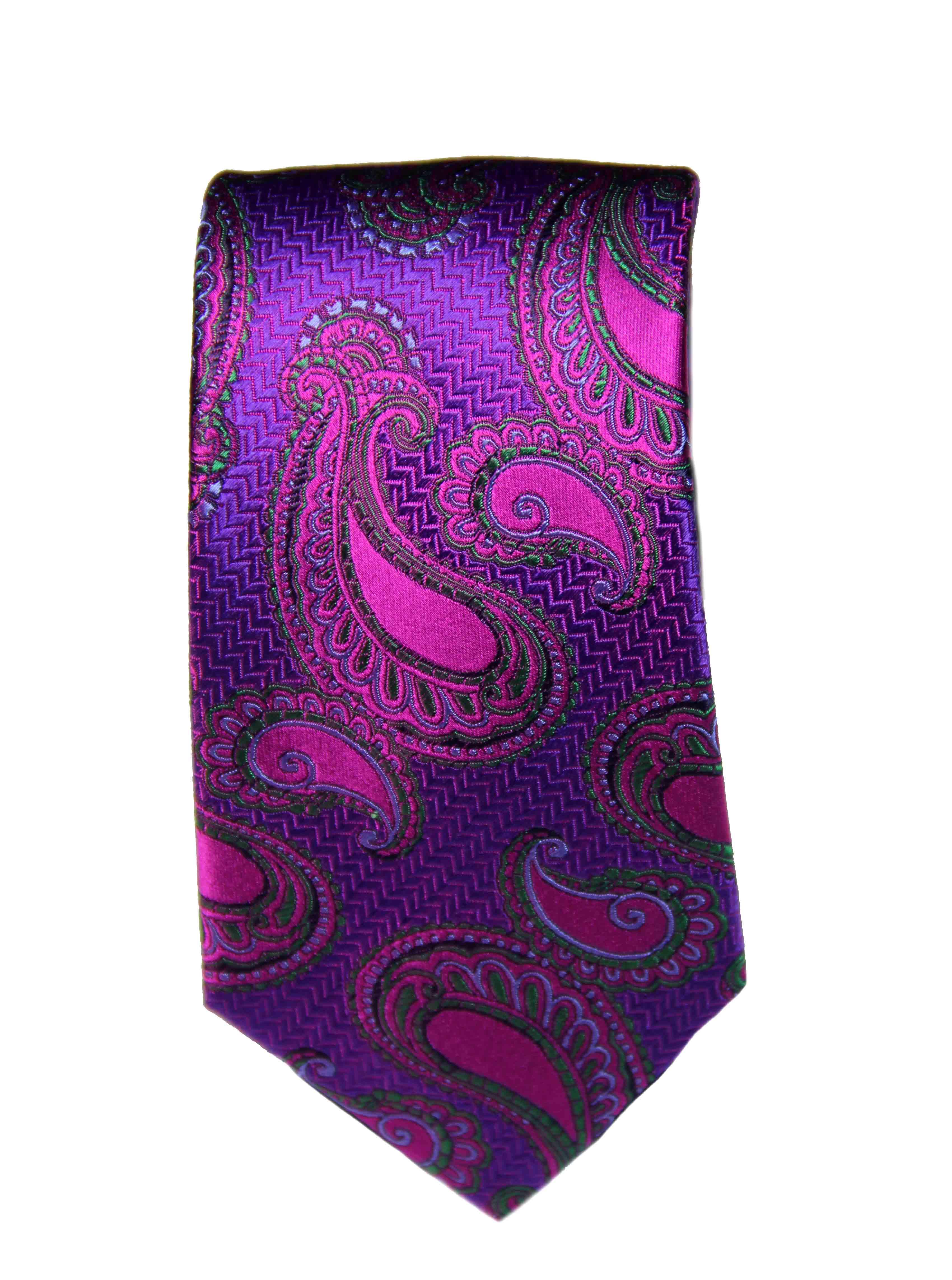 Duchamp London Silk Tie Purple Paisley Men's