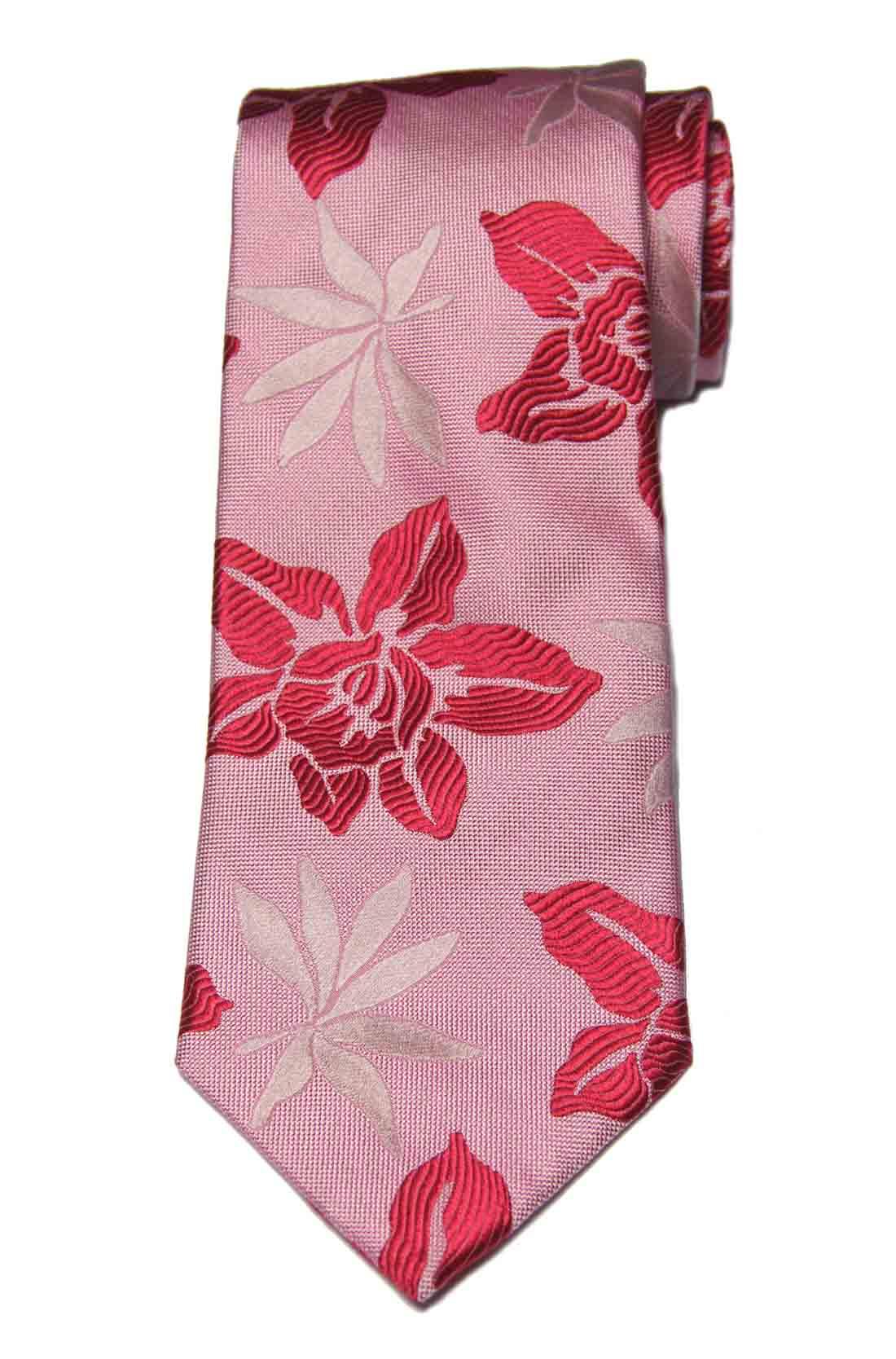 Express Italian Silk Tie Floral Red White Pink Men's