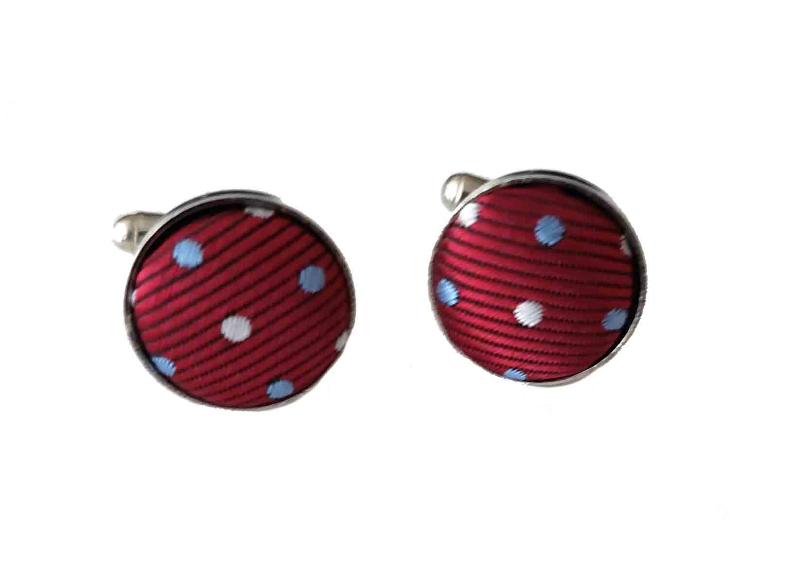 Gascoigne Cufflinks Metal Fabric Red Blue White Polka Dot Men's