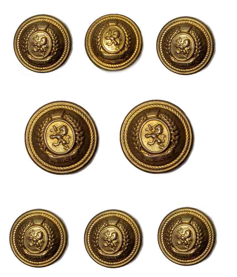 Vintage Gant Blazer Buttons Set Antique Gold Brass Lion Sword Men's