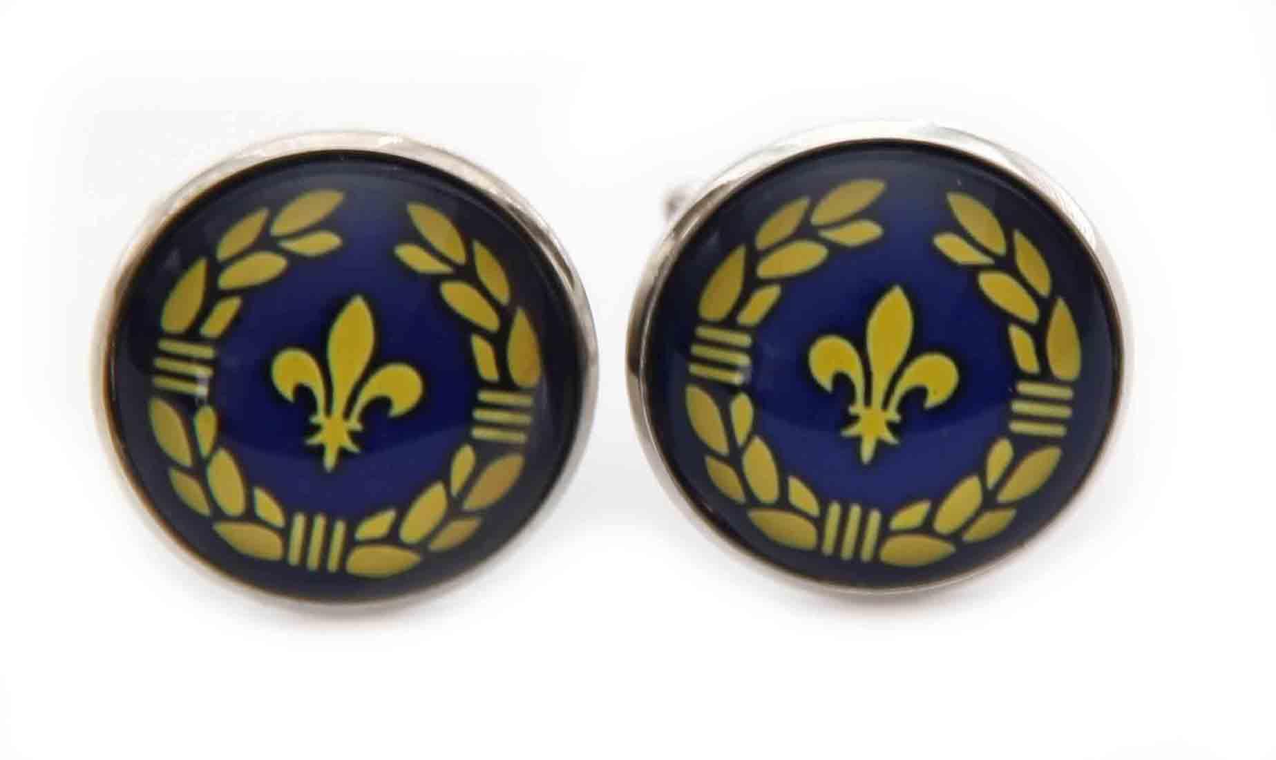 Gascoigne Cufflinks Silver Blue Yellow Fleur de Lis Pattern Men's