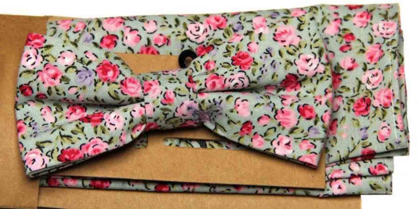Floral Bow Tie and Pocket Square Set Cotton Green Pink Purple Men's