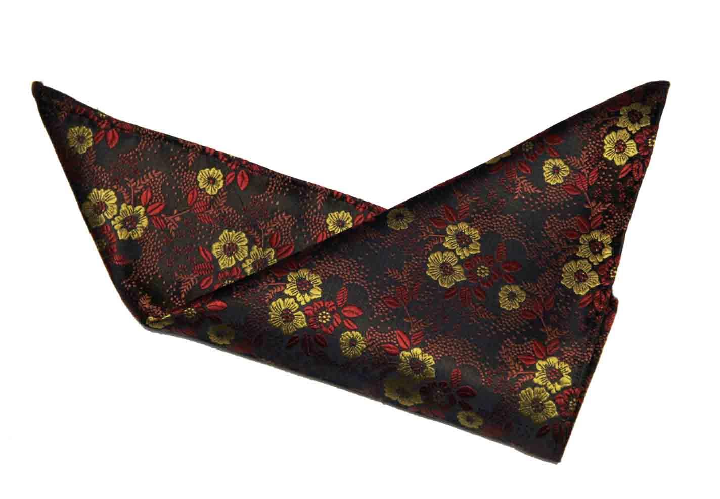 Gascoigne Silk Pocket Square Floral Red Gold Black Men's