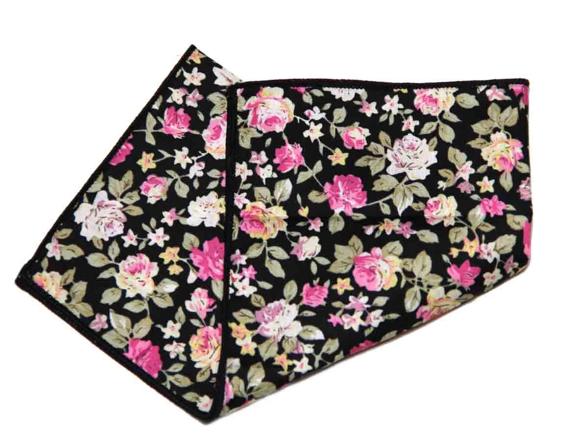 Gascoigne Pocket Square Black Green Pink Yellow Floral Men's