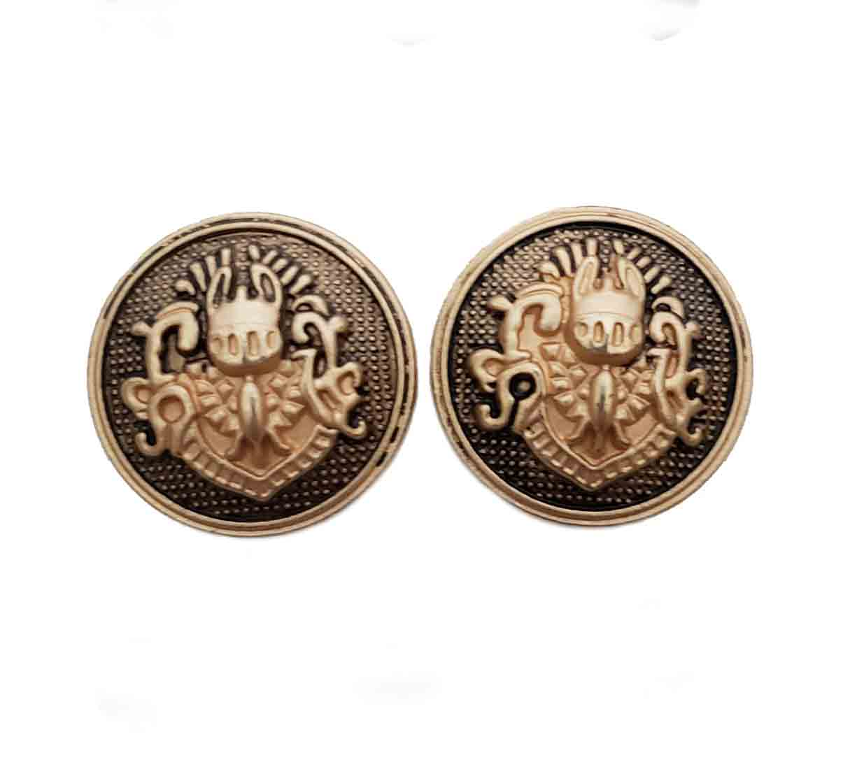 Two Gascoigne Dome Blazer Buttons Gold Gray Metal Crested Shield Men's