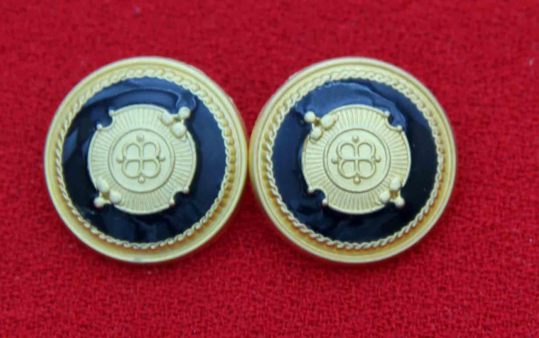Two Gascoigne Dome Blazer Buttons Gold Black Brass Enamel Shank Men's