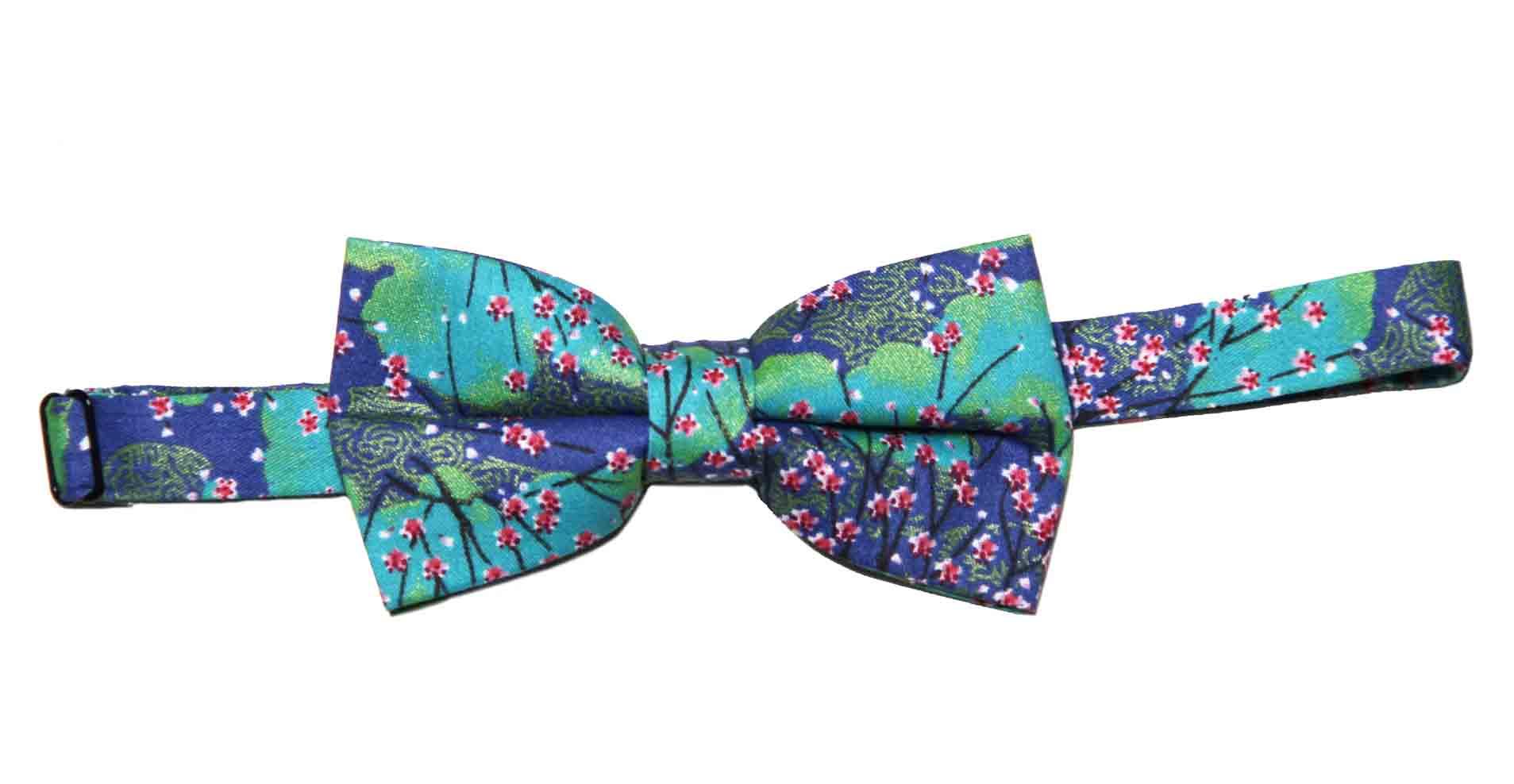 Gascoigne Floral Bow Tie Green Pink White Black Navy Blue Cotton Men's