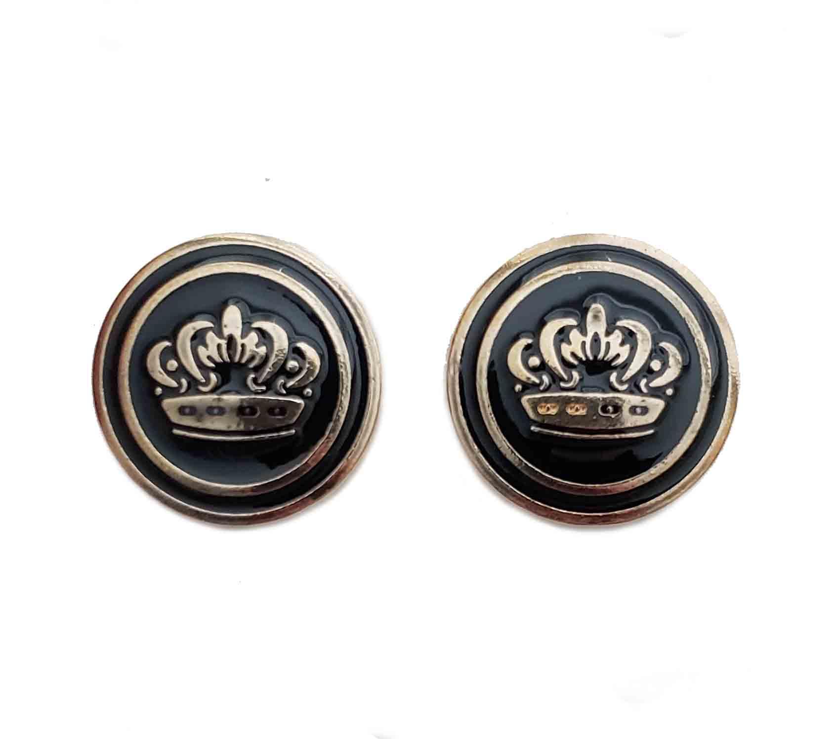 Two Gascoigne Blazer Buttons Gold Black Metal Shank Monarch Crown Men's