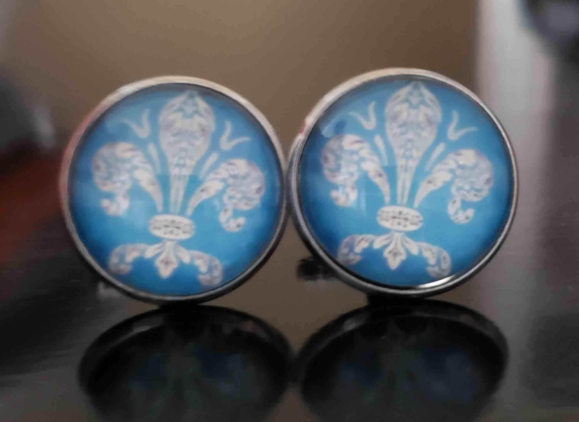 Gascoigne Cufflinks Silver Metal Alloy Blue White Fleur De Lis Pattern Men's