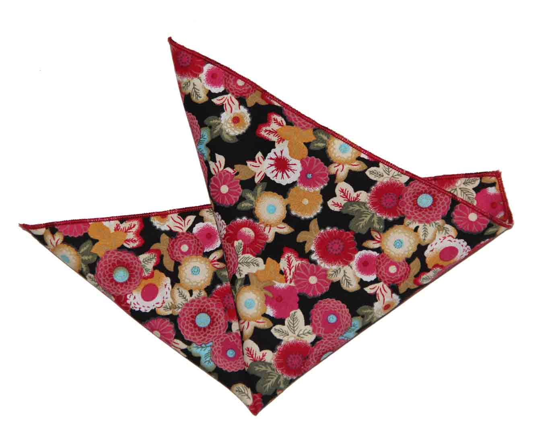 Gascoigne Pocket Square Floral Cotton Pink Red Yellow Black Men's