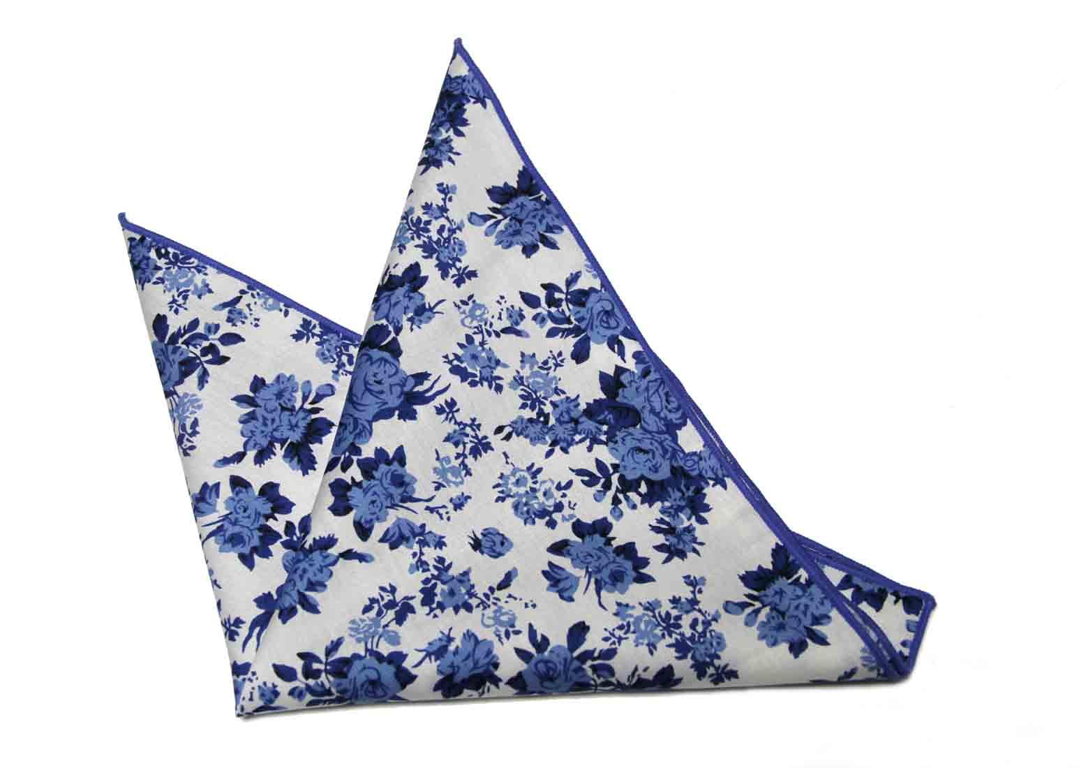Gascoigne Floral Pocket Square Cotton Blue White Men's