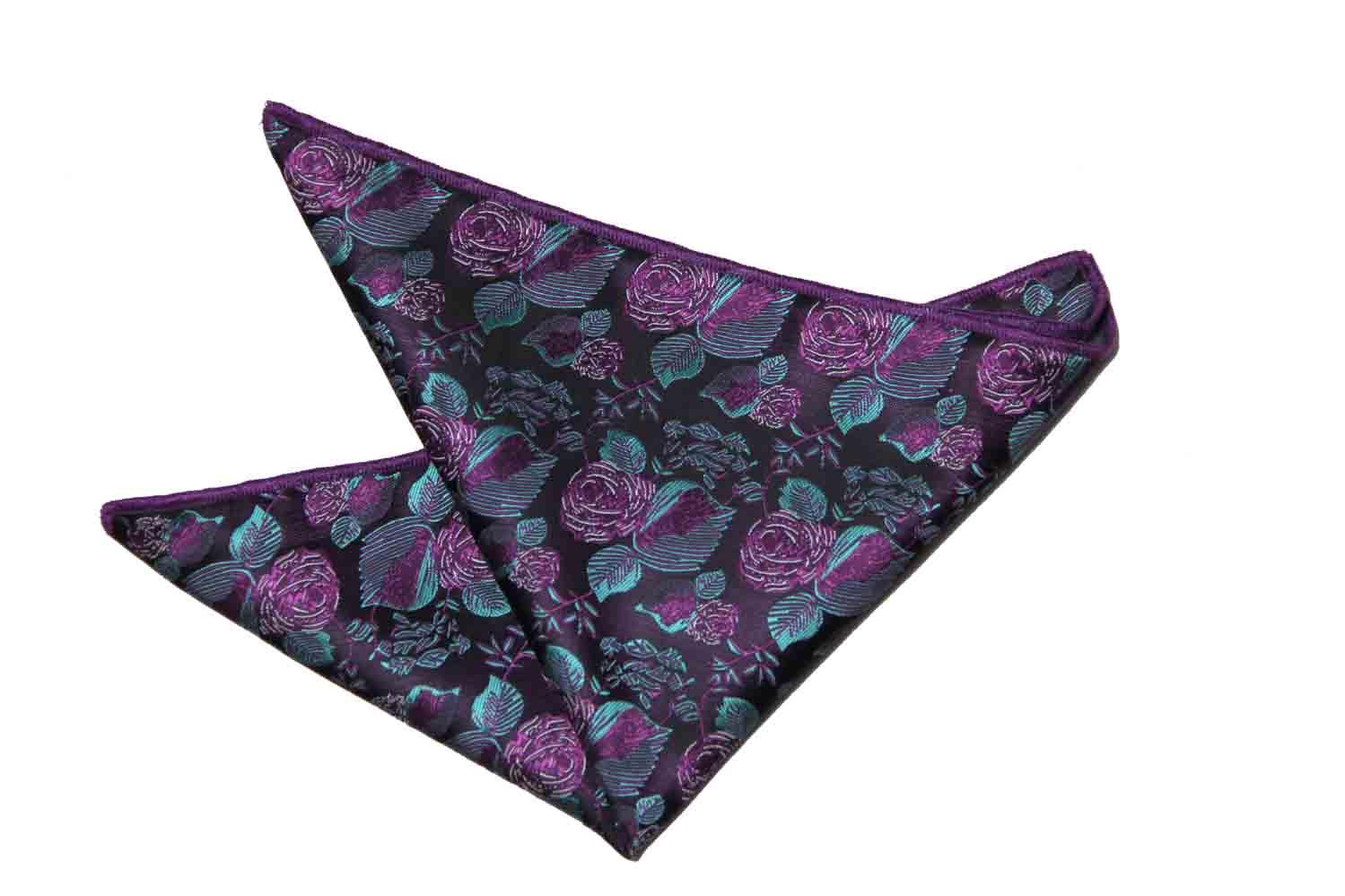 Gascoigne Floral Pocket Square Purple Green Brown Men's