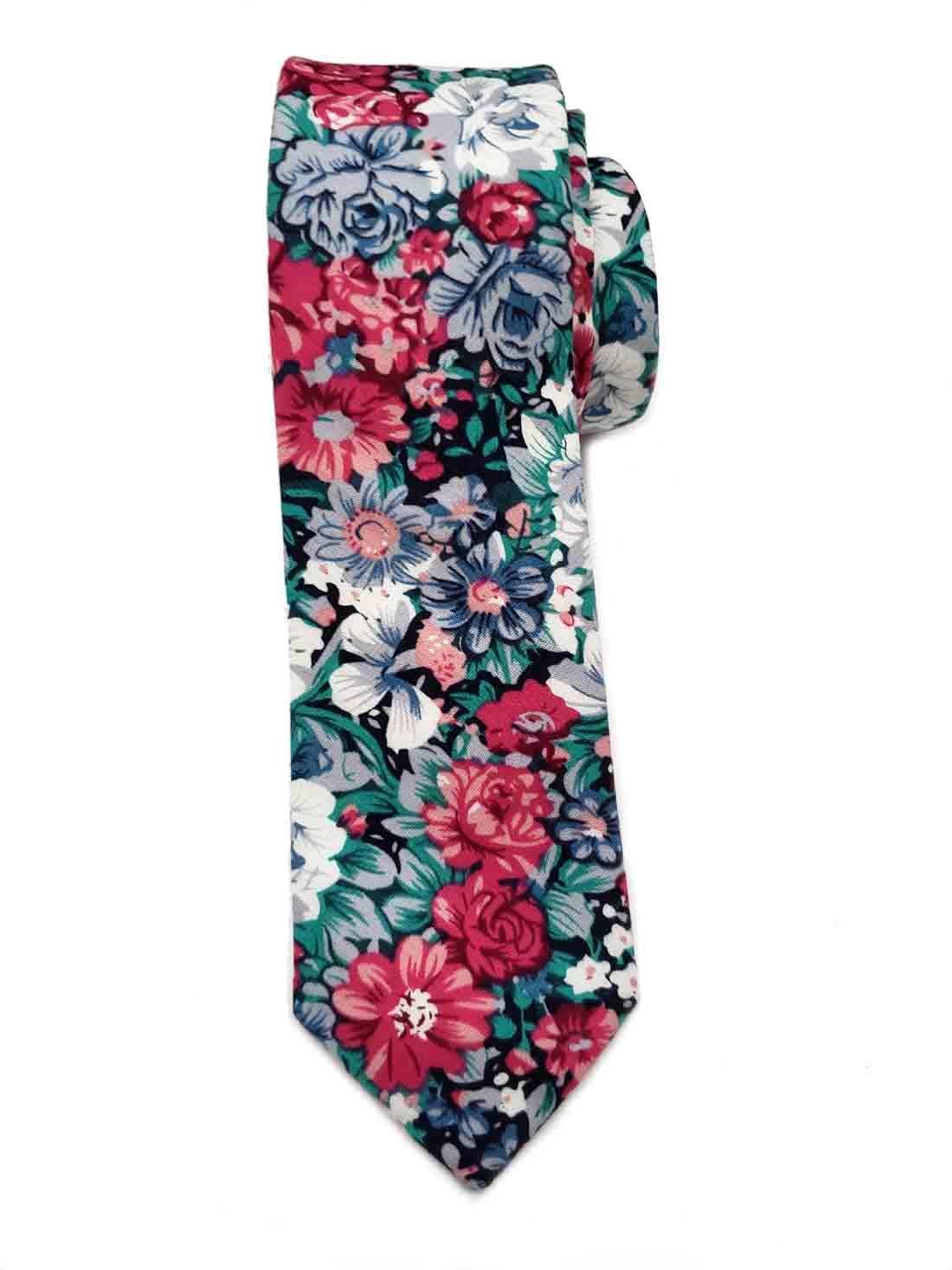 Gascoigne Floral Cotton Tie Red Pink Green White Men's Narrow