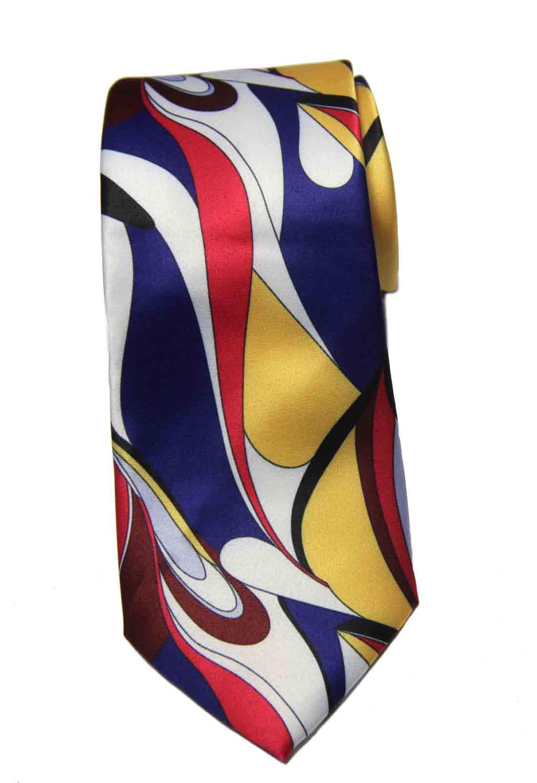 Barry Wang for Gascoigne Silk Tie 1960s Mod Pattern Men's Long