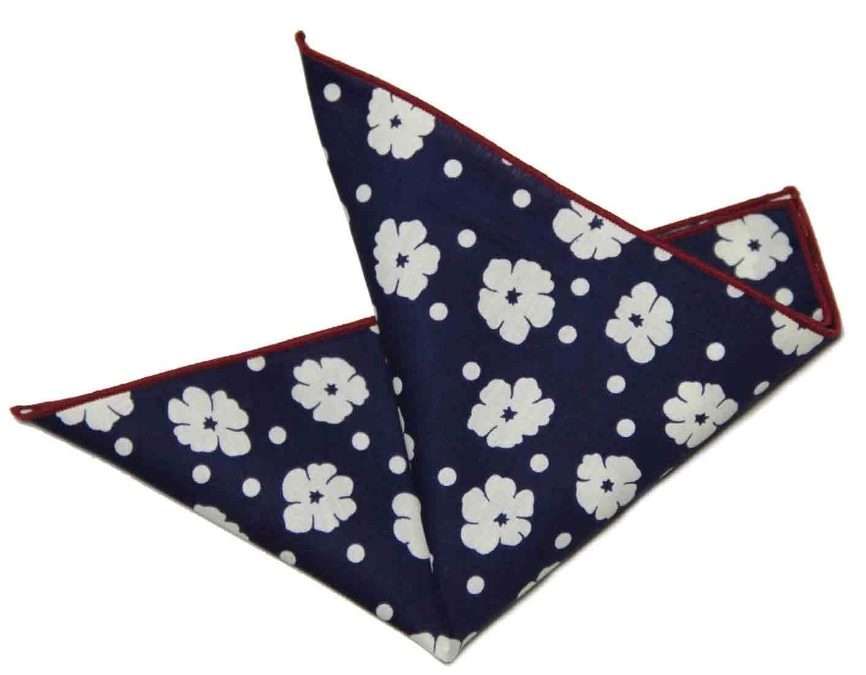 Gascoigne Pocket Square Floral Dots Navy Blue White Red Cotton Men's