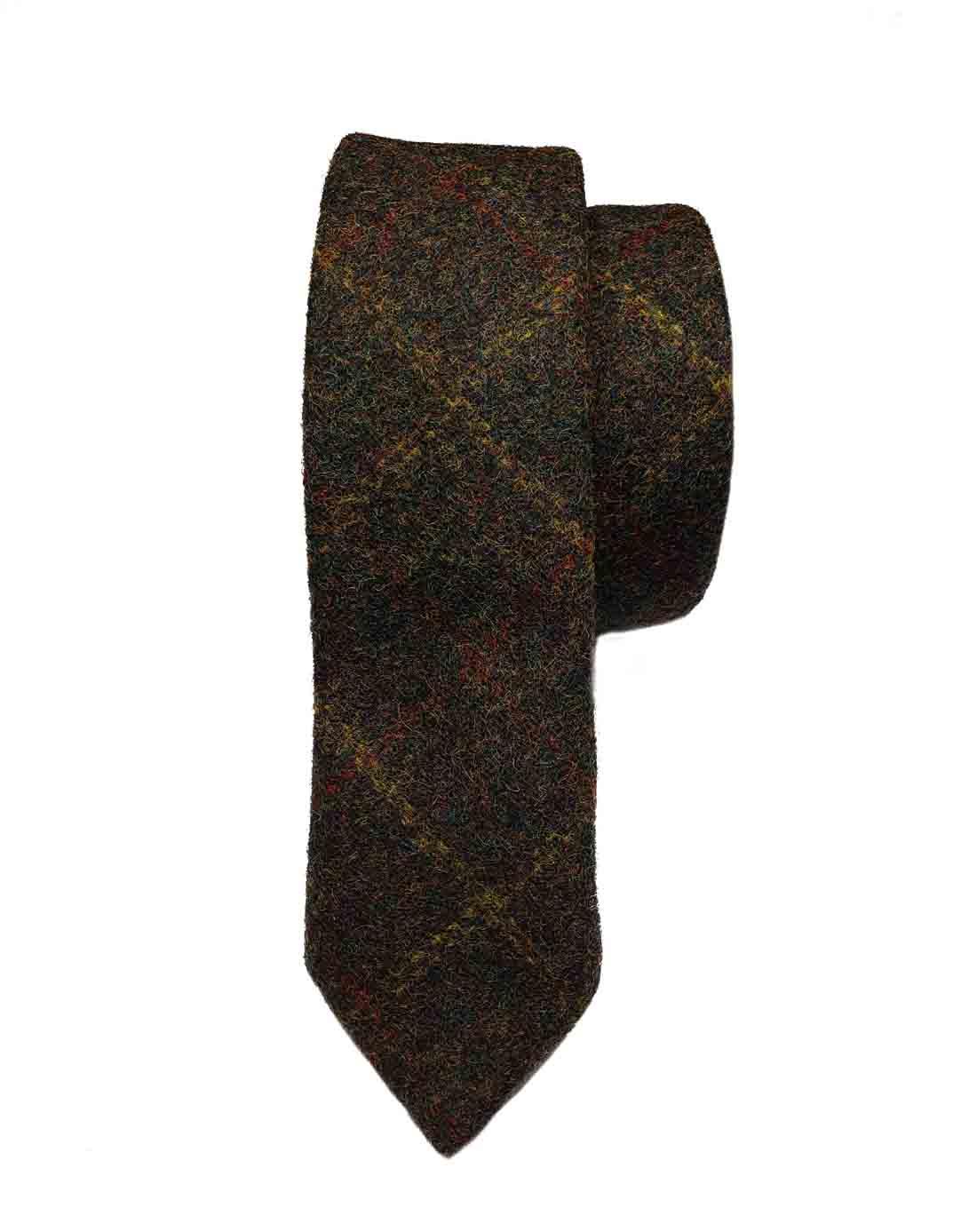 Gascoigne Wool Tweed Tie Olive Brown Gold Orange Men's Narrow