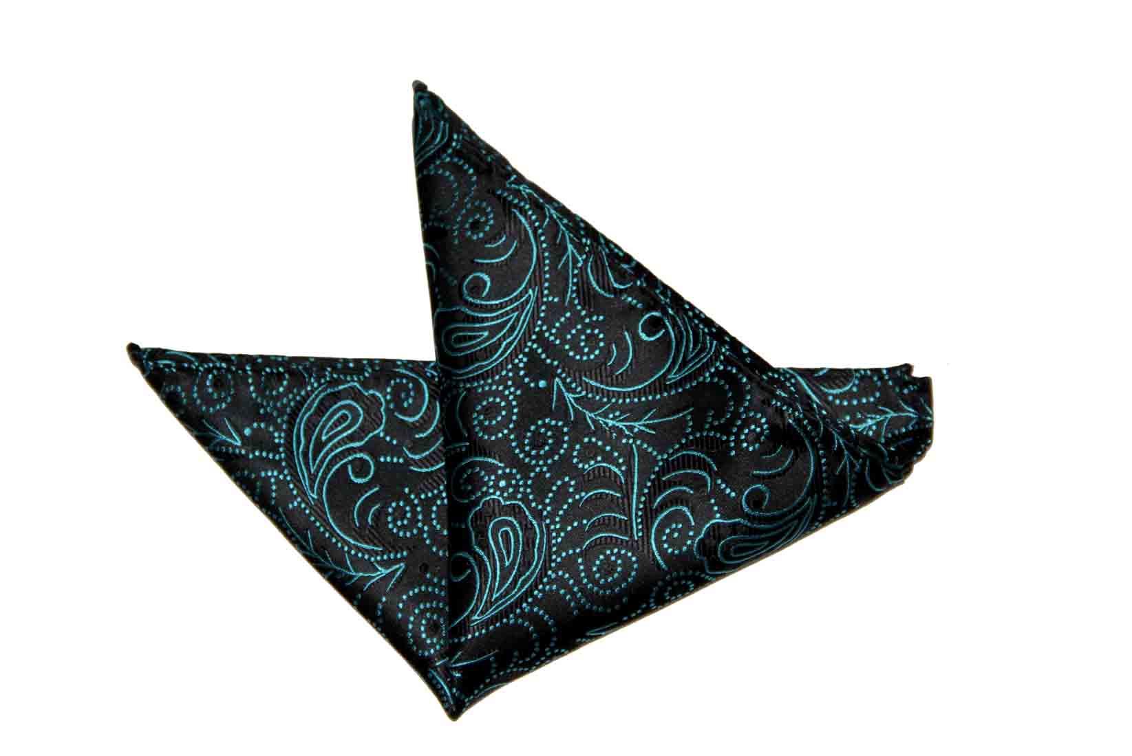 Gascoigne Pocket Square Silk Teal Blue Black Men's