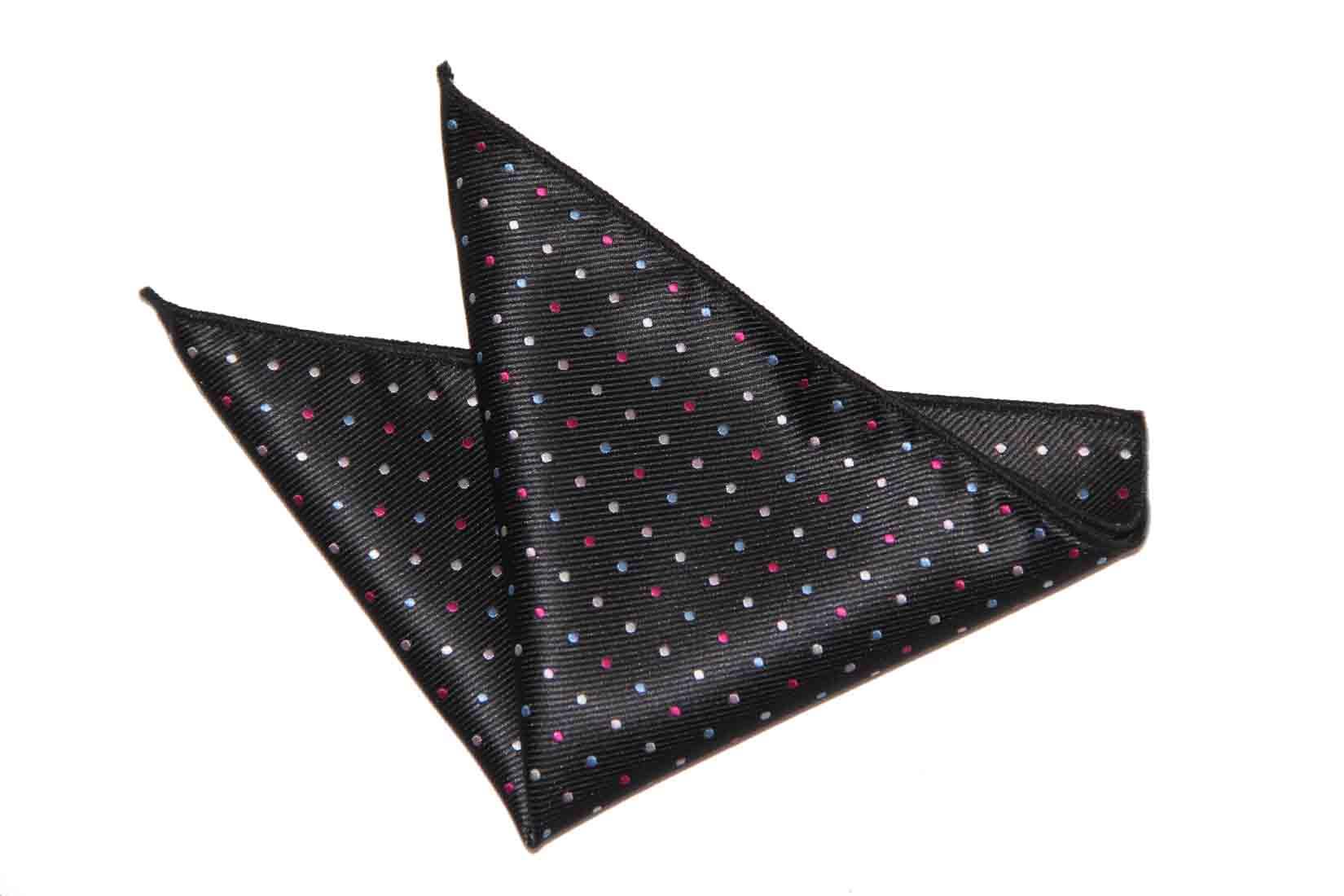 Gascoigne Pocket Square Black Polka Dot Silk Men's