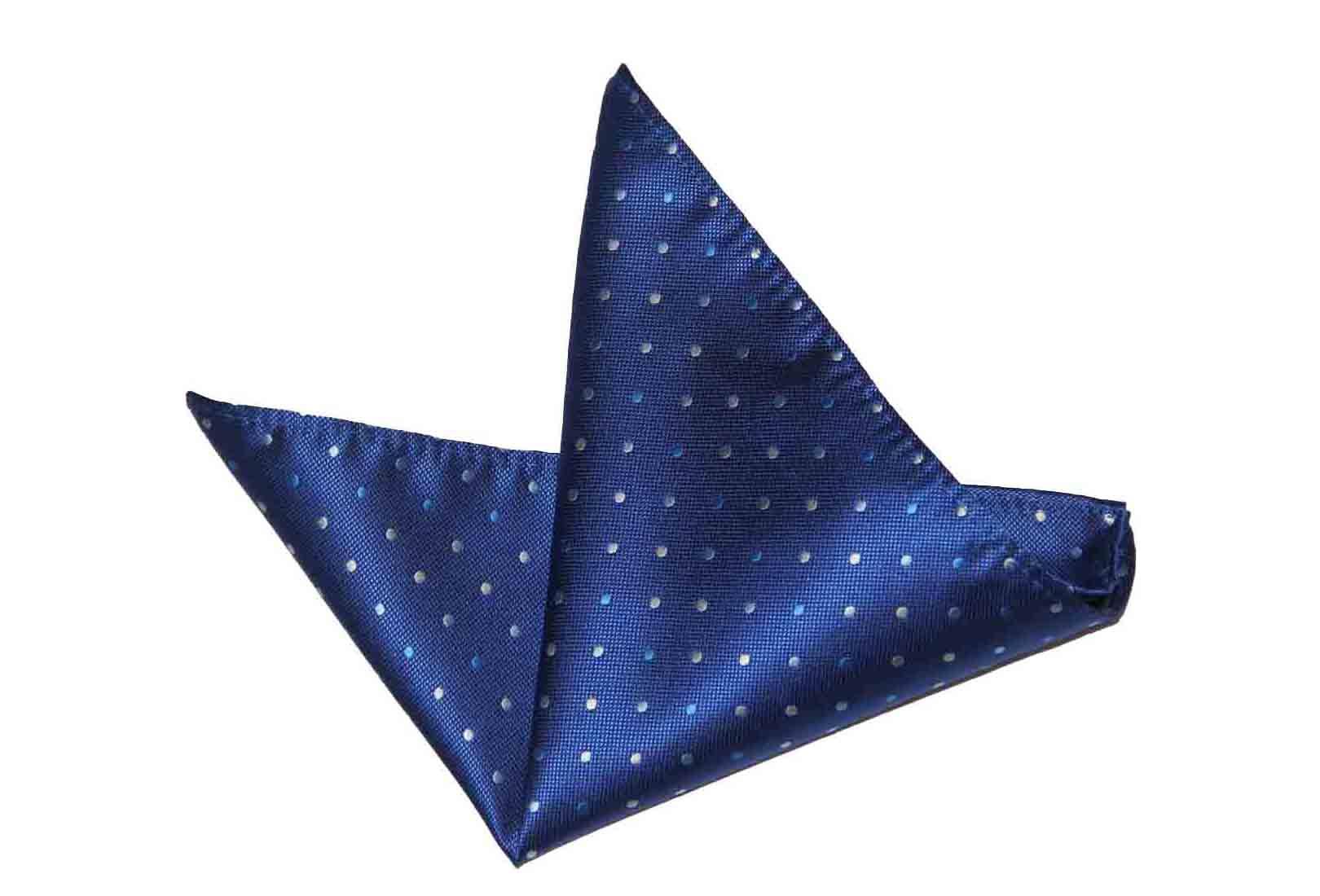 Gascoigne Pocket Square Navy Blue White Polka Dot Silk Men's