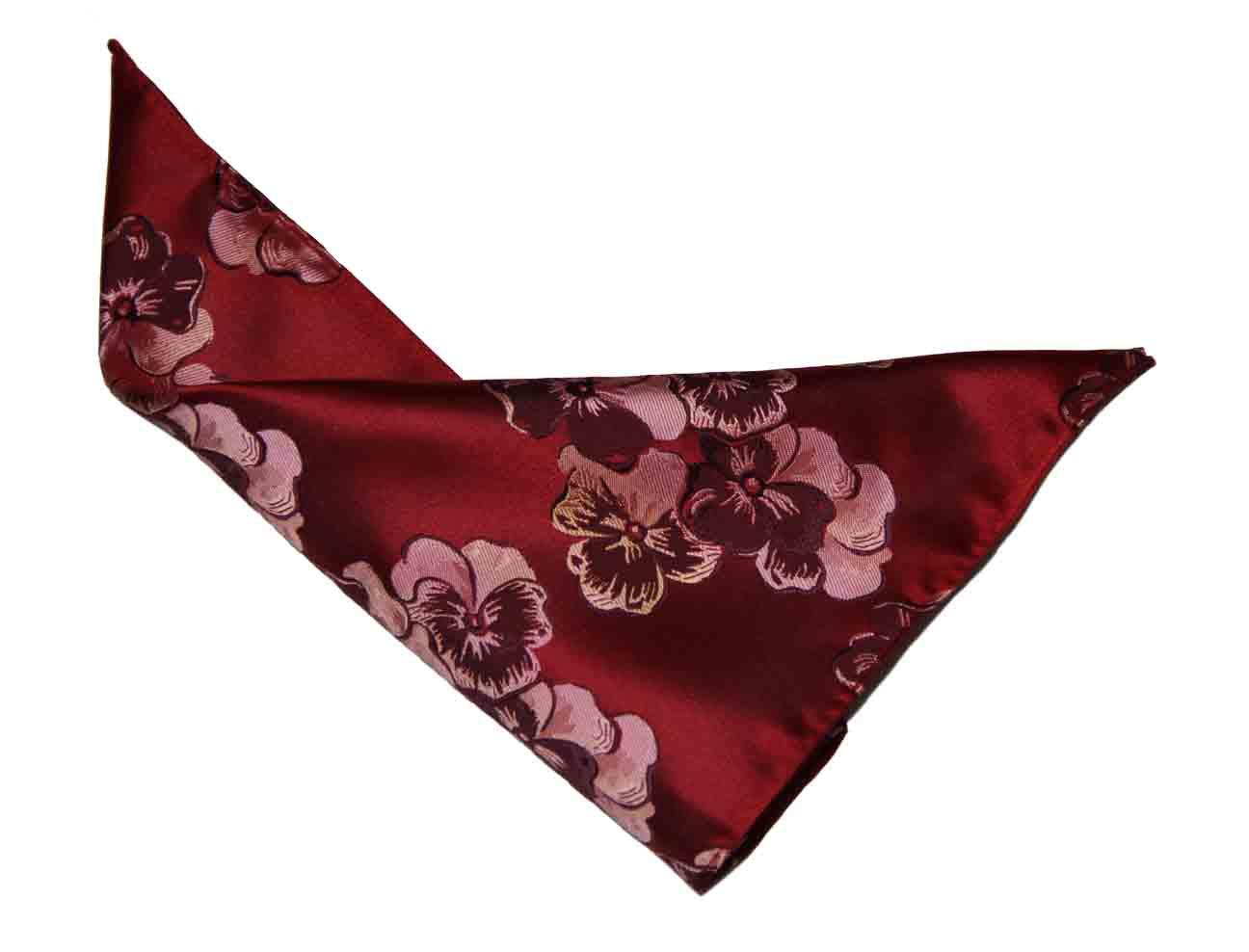 Gascoigne Pocket Square Red Floral Men's