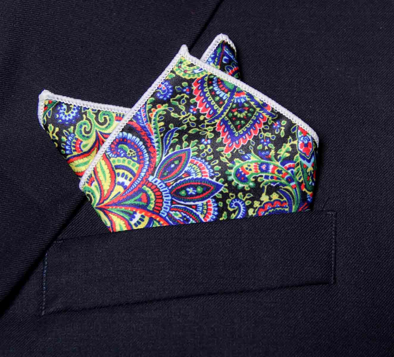 Gascoigne Silk Pocket Square Colorful Floral and Paisley Pattern Men's