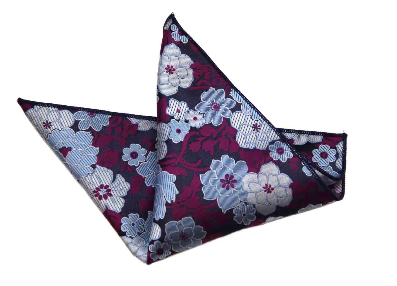 Gascoigne Pocket Square Floral Blue Black Purple Gray White Silk Men's