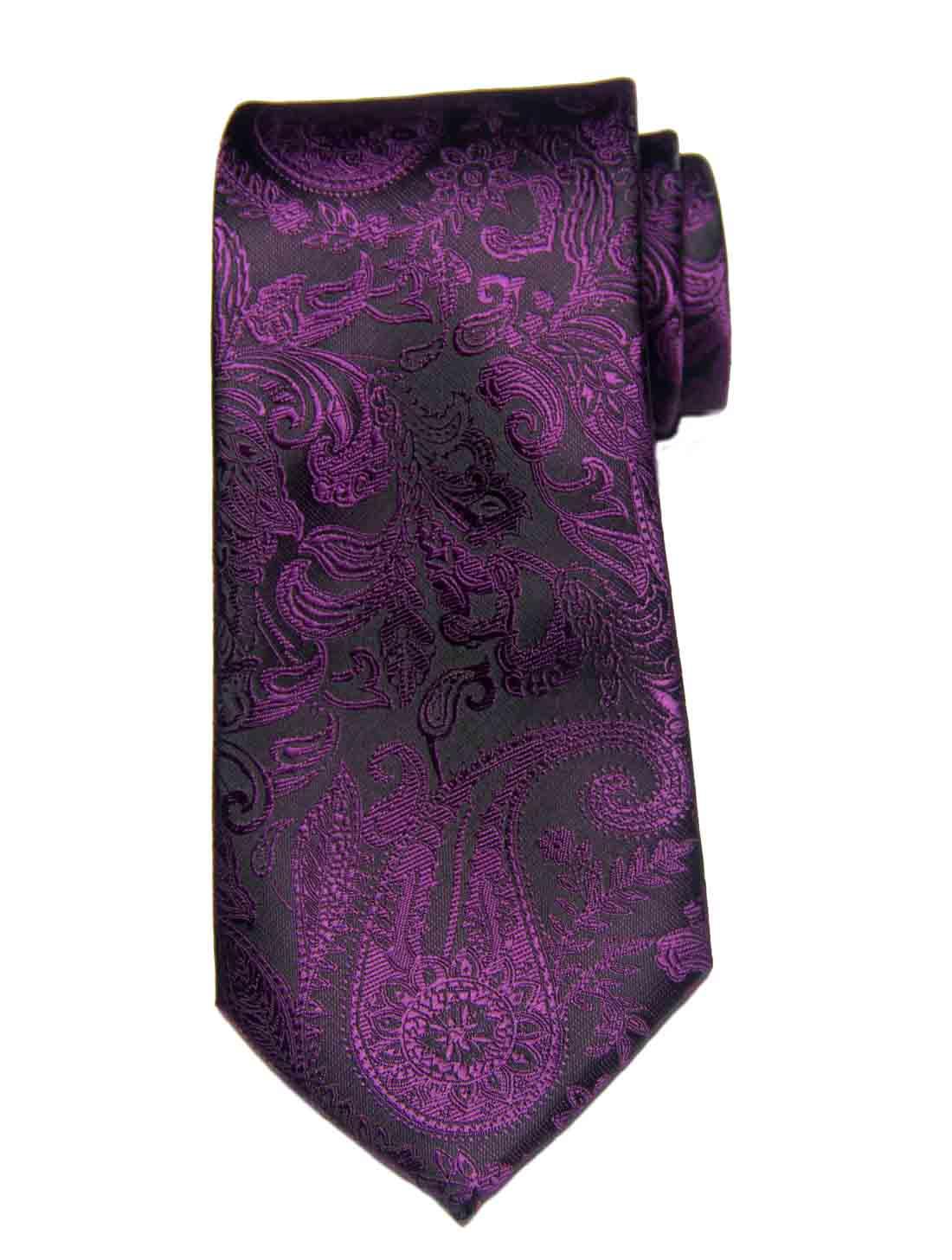 Gascoigne Silk Jacquard Tie Purple Black Paisley Pattern Men's