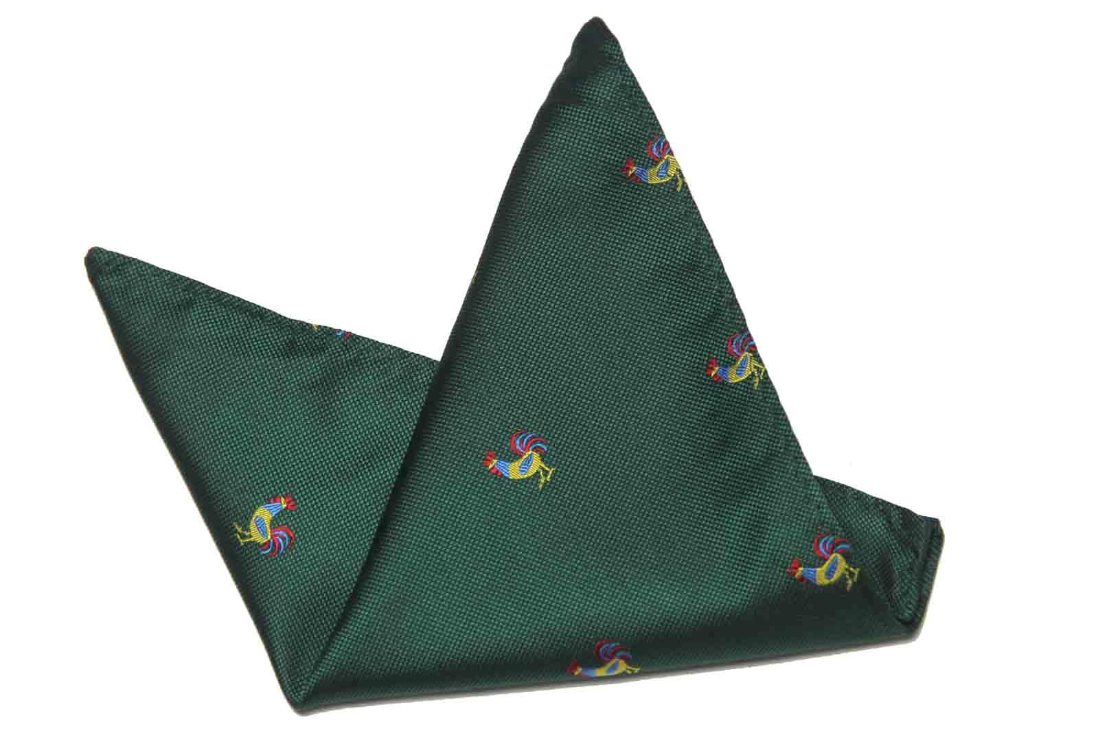 Gascoigne Pocket Square Green Rooster Cock Silk Blend Men's