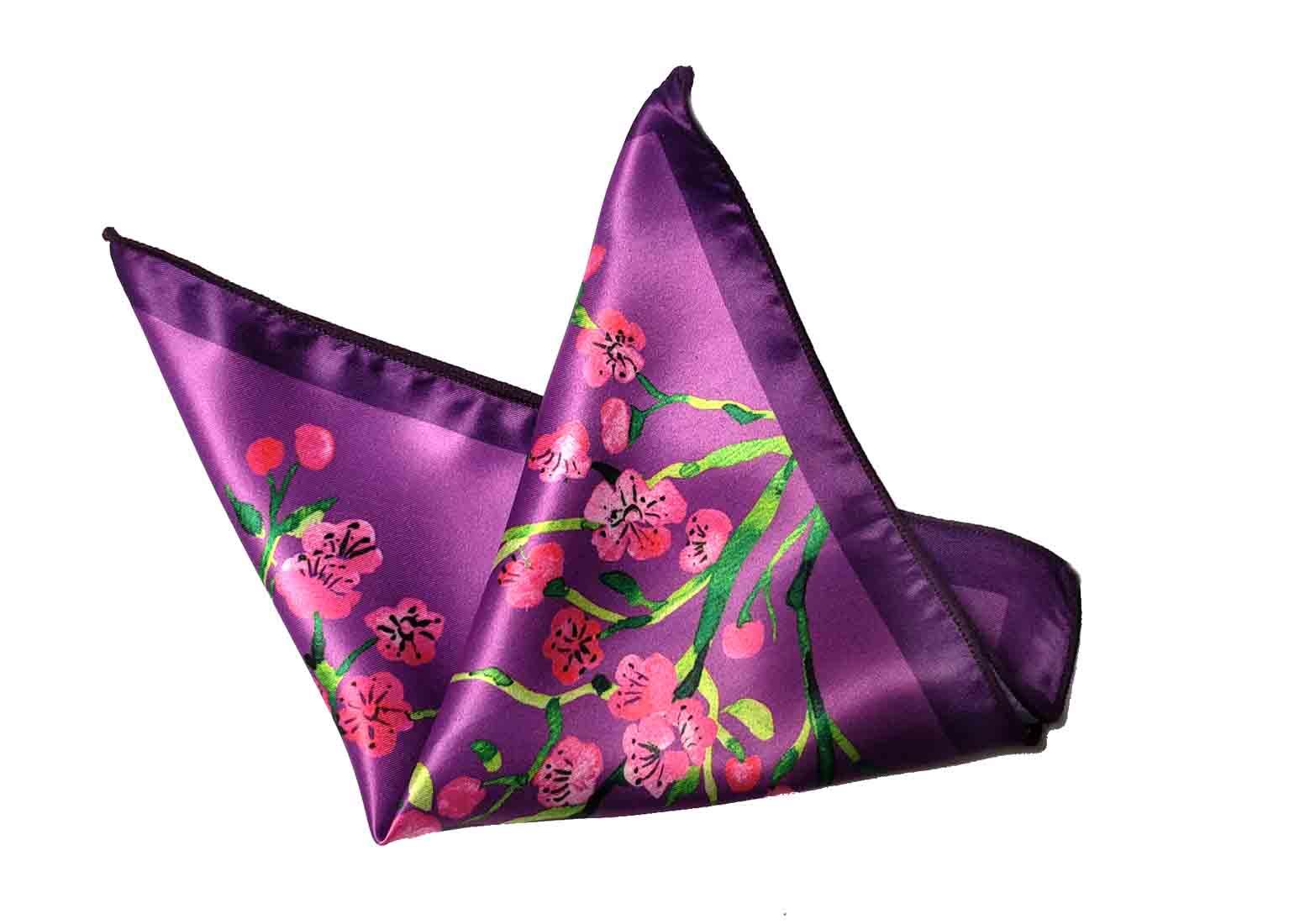 Gascoigne Silk Pocket Square Purple Pink Green Men's