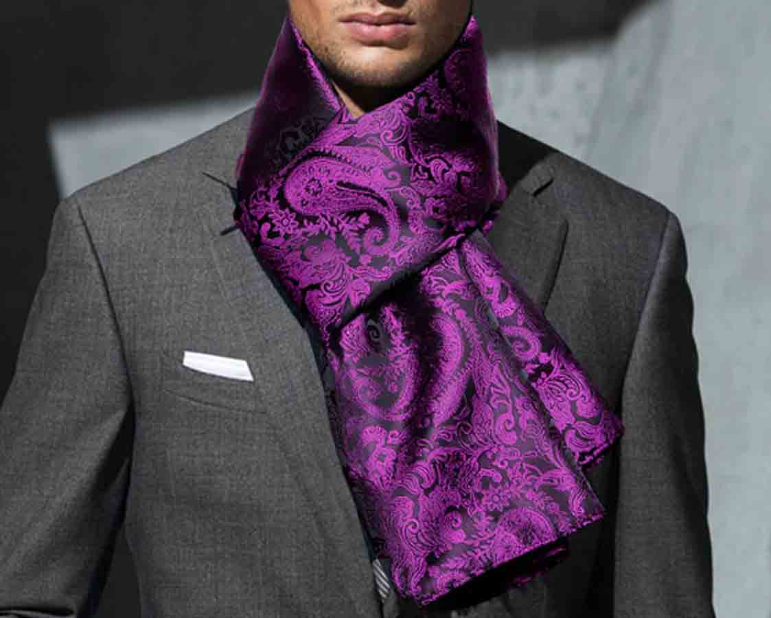 Gascoigne Formal Silk Jacquard Scarf Purple Black Paisley Pattern Men's