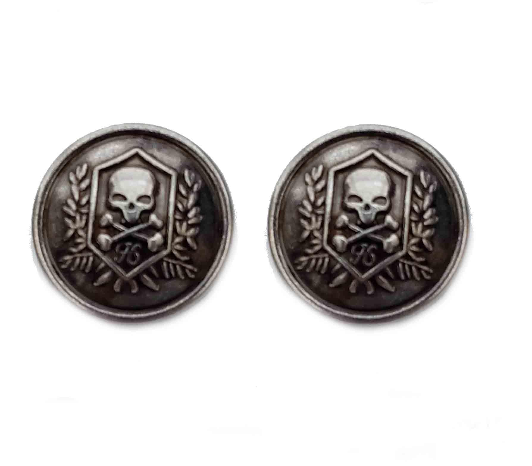 Two Gascoigne Skull Blazer Buttons Skull Crossbones Gray Silver Metal Shank Men's