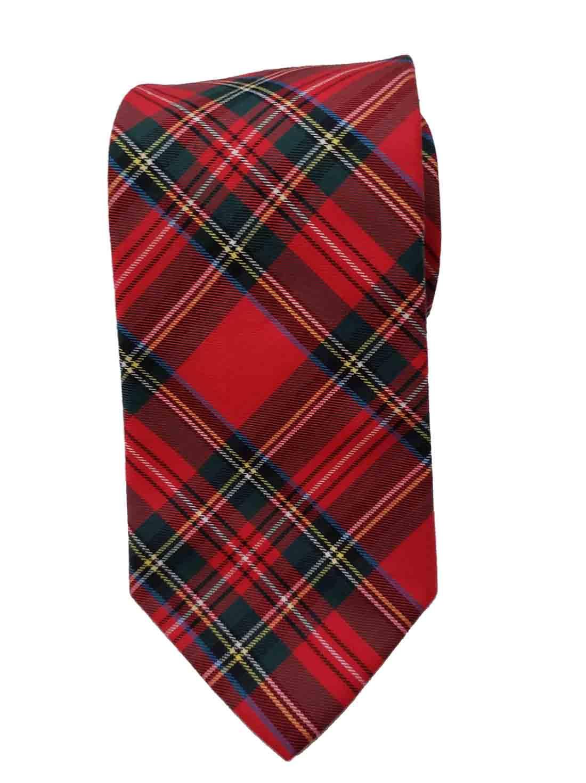 Gascoigne Red Tartan Plaid Tie Wool Blend Men's