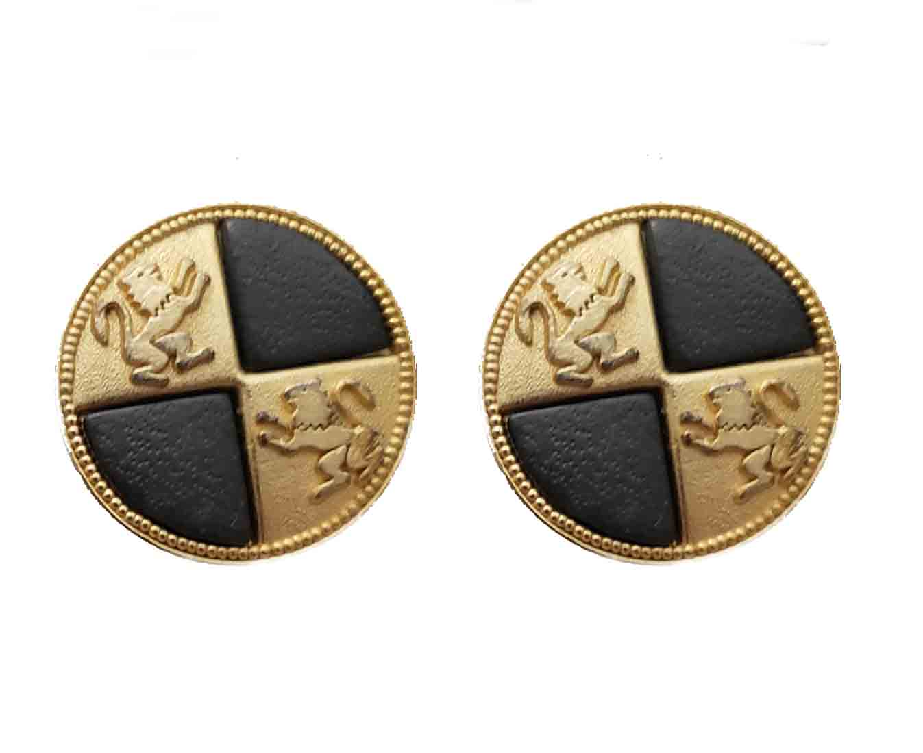 Two Vintage Aquascutum Blazer Buttons Gold Black Double Lion Shank Men's