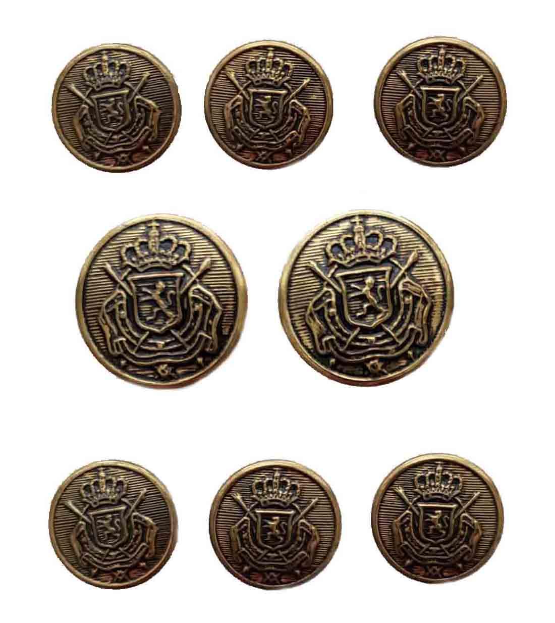 Vintage Haggar Antique Gold Blazer Buttons Set Brass Belgian Crest Shank Men's