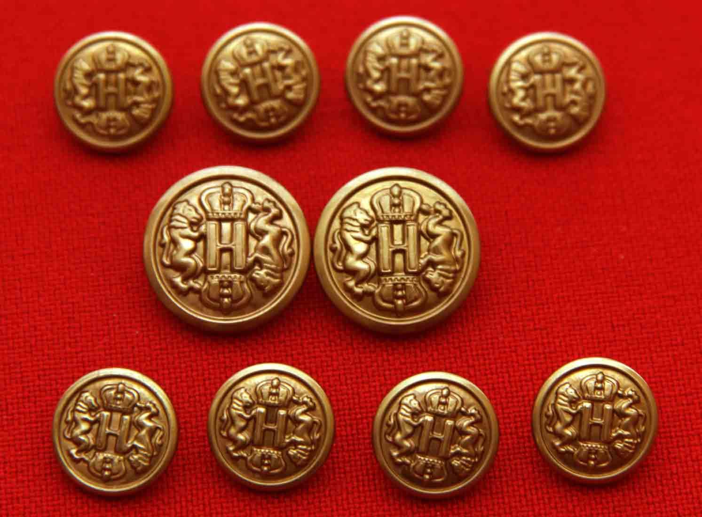 Vintage Haggar Blazer Buttons Gold Brass Shank Crown Lions H Monogram Men's