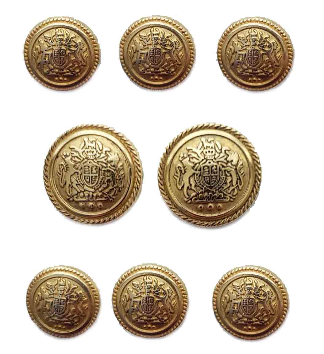 Vintage Hickey Freeman Blazer Buttons Set Gold Brass Shank Lion Unicorn Shield Men's