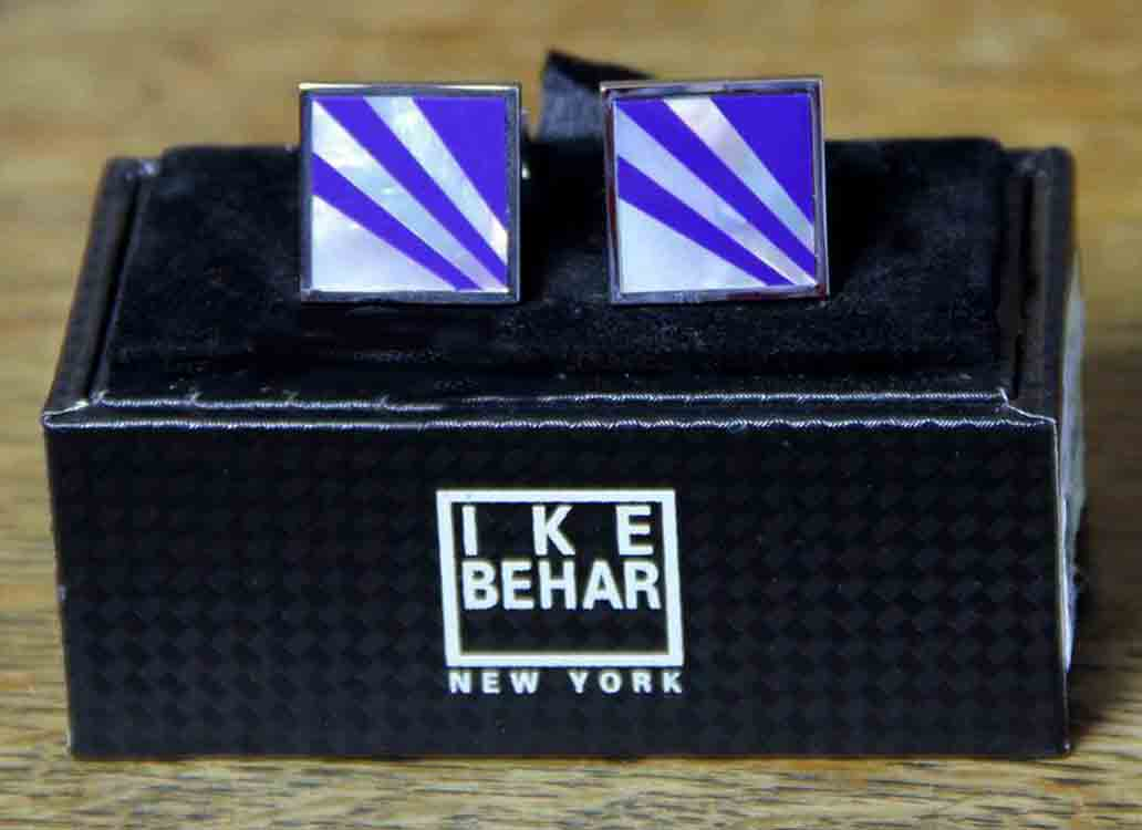 Ike Behar Cufflinks Silver Blue White Striped Men's