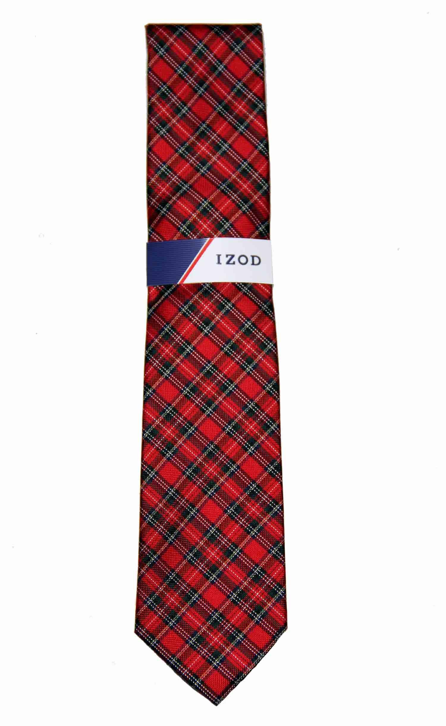 Izod Red Green White Tartan Tie Silk Plaid Men's