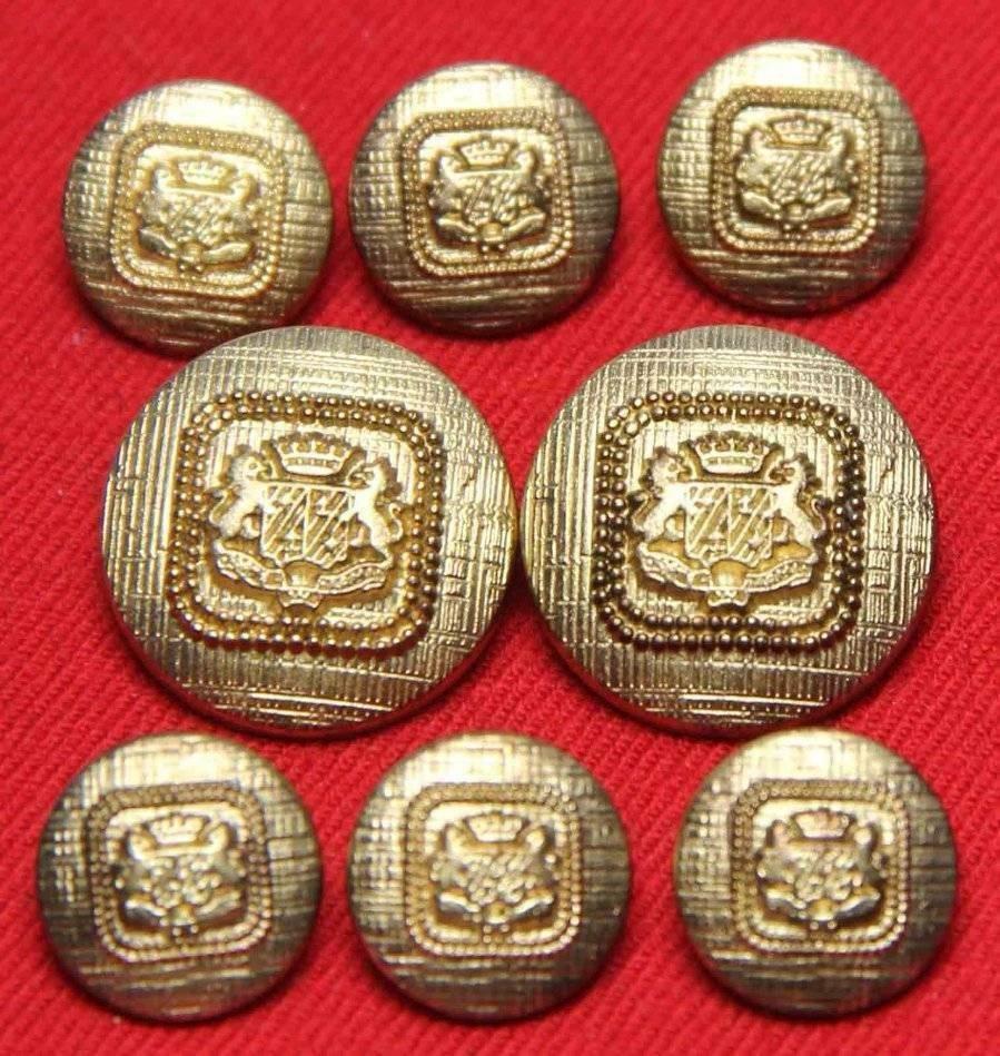 Vintage J.G. Hook Blazer Buttons Set Gold Metal Alloy Double Lion Crown Shield Shank Men's