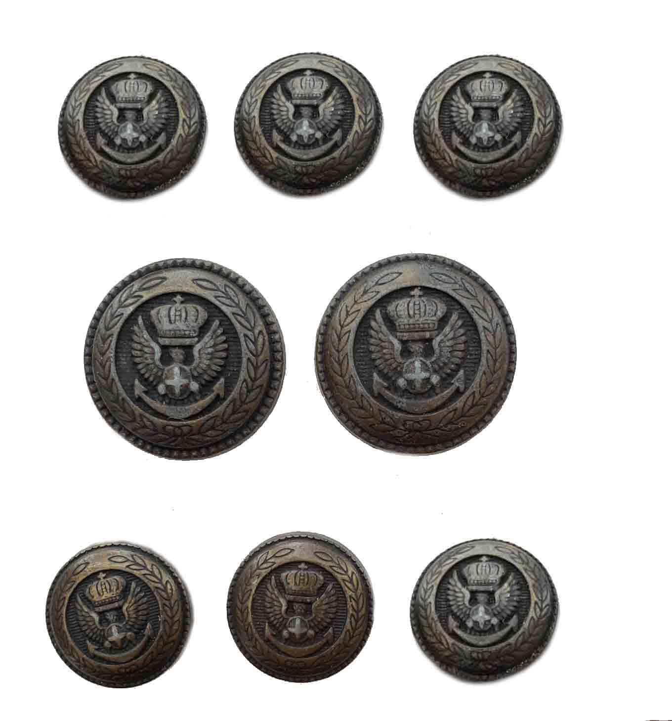 Vintage Jos A Bank Blazer Buttons Set Bronze Gray Gold Eagle Crown Anchor Metal Men's