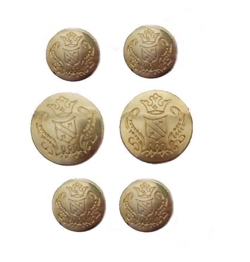 Vintage Jos A Bank Blazer Buttons Set Gold Brass Shank Crown Shield Men's