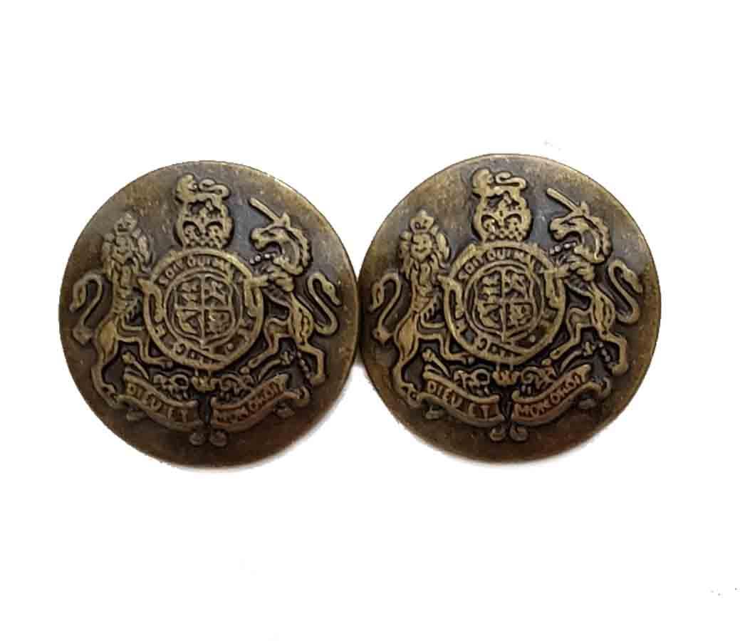 Two Jos A Bank Dome Blazer Buttons Antique Gold Brass Lion Unicorn Shield Men's