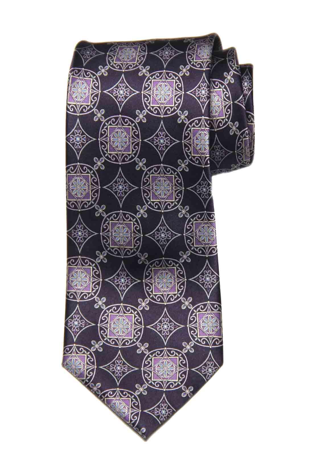 Joseph Feiss Silk Tie Floral Purple Gray Blue Men's